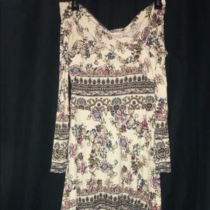 White with floral pattern off the shoulder dress